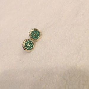 Kendra Scott turquoise logo earrings.